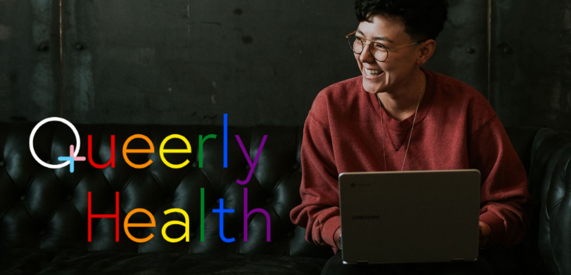 A person checking out Queerly.health on their laptop.