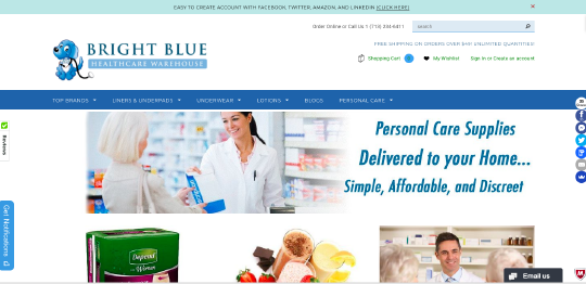 Bright Blue Healthcare Warehouse website screenshot