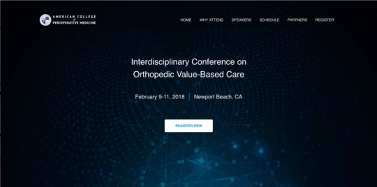 The Interdisciplinary Conference on Orthopedic Value-Based Care website screenshot