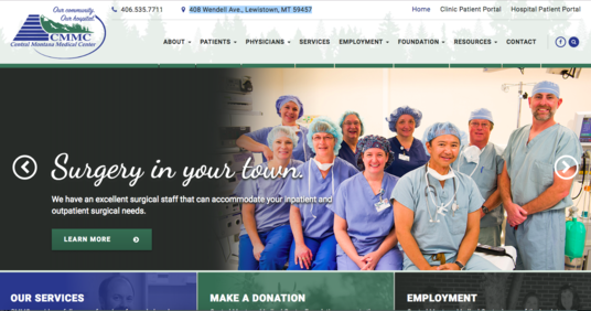 Central Montana Medical Center website screenshot