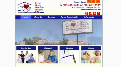 Basin Home Health & Hospice website screenshot
