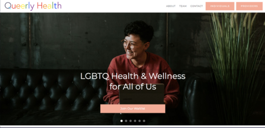 Queerly Health website screenshot
