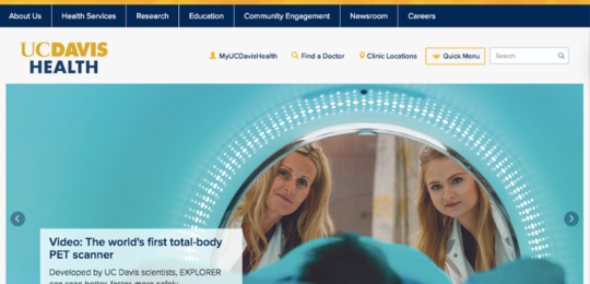 UC Davis Health website screenshot