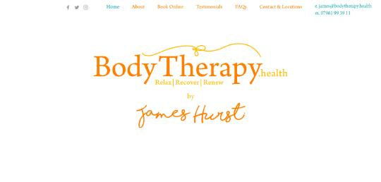 Body Therapy by James Hurst website screenshot