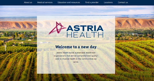 Astria Health website screenshot