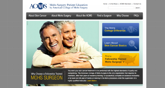American College of Mohs Surgery  website screenshot