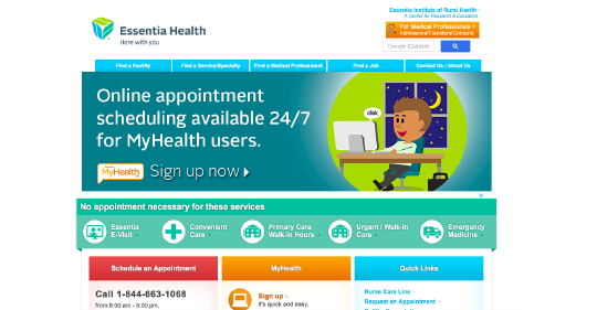 Essentia Health website screenshot