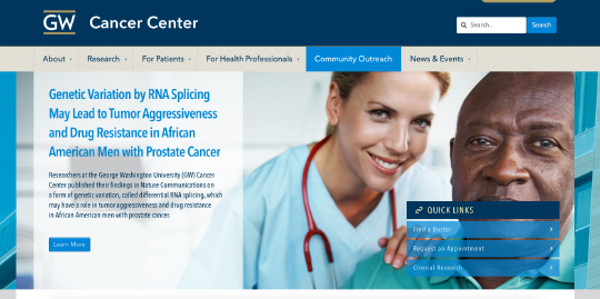 GW Cancer Center website screenshot