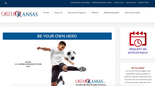 OrthoKansas website screenshot