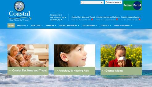 Coastal Ear, Nose and Throat website screenshot